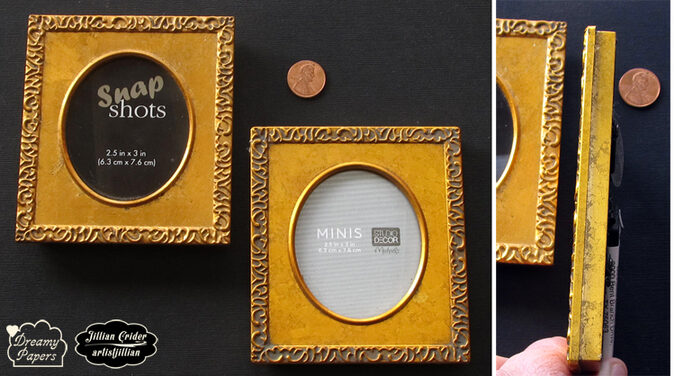 Mini art frames for sale oval opening gold wood carved Dreamy Papers